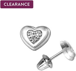 Child's Diamond Accented Heart Stud Earrings in Sterling Silver