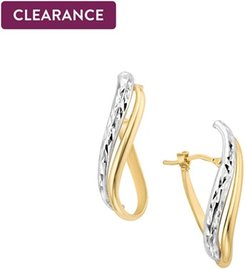 Polished & Diamond Cut Twist Hoop Earrings in 14K Yellow & White Gold