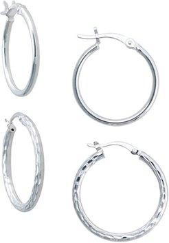 Polished and Diamond Cut Hoop Earring Set in Sterling Silver