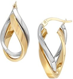 Double Wave Twist Hoop Fashion Earrings in 14K Yellow and White Gold