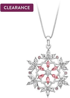 White and Pink Crystal Snowflake Pendant in Sterling Silver