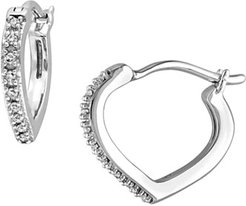 Diamond Accented Fashion Hoop Earrings in 10K White Gold