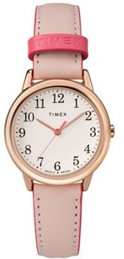 30mm Ladies' Timex Easy Reader Watch with Champagne Dial and Blush Leather Strap