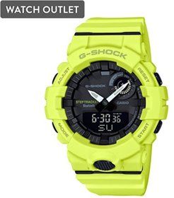54mm Men's Casio G-Shock Step Tracker Watch with Black Dial and Neon Yellow Strap