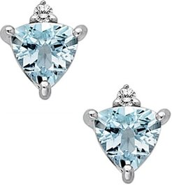 Aquamarine and Diamond Fashion Earrings in 14K White Gold