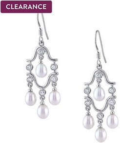 Freshwater Cultured Pearl and Cubic Zirconia Chandelier Earrings in Sterling Silver