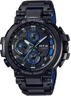 56mm Men's Casio G-Shock MT-G Watch with Black Dial and Black Bracelet