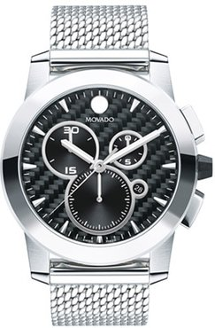 44mm Men's Movado Vizio Chronograph Watch with Anthracite Dial and Silver-Tone Bracelet