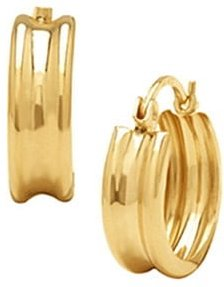 Ribbed Hoop Fashion Earrings in 14K Yellow Gold