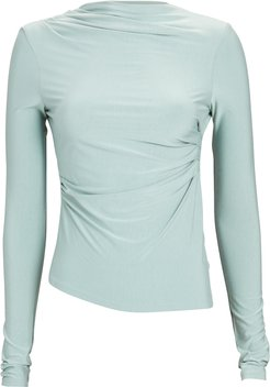 Selma Ruched High Neck Top, Green-Lt P