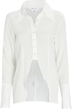 Leomie High-Low Button-Down Shirt, White M