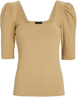 Rib Knit Puff Sleeve Top, Beige P