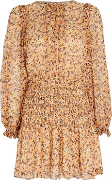 Colette Balloon Sleeve Floral Mini Dress, Ivory 10