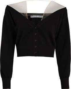 Sheer Yoke Cardigan, Black P