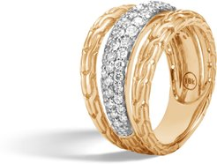 Classic Chain Ring in 18K Gold with Diamonds
