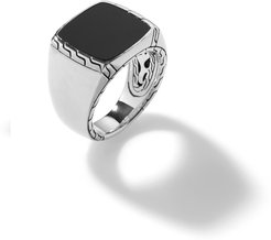 Classic Chain Signet Ring in Sterling Silver