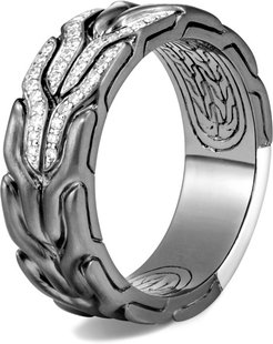 Classic Chain 8MM Band Ring in Blackened Sterling Silver, Diamonds