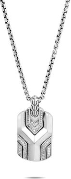 Asli Classic Chain Link Dog Tag Necklace, Sterling Silver, Diamonds