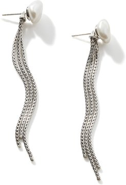 Classic Chain Tassel Ear Jacket in Sterling Silver with White Fresh Water Pearl