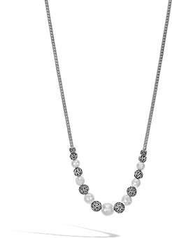 Classic Chain Station Necklace in Hammered Sterling Silver