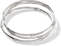 Bamboo Bangles in Sterling Silver, Set of 3