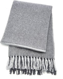 Two-Tone Fringed Cashmere Throw
