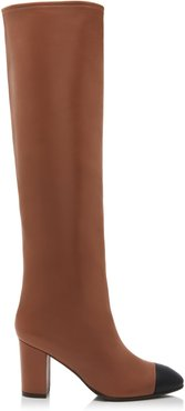 Kimberly Leather Cap-Toe Knee Boots