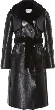 The One Shearling-Lined Glossed-Leather Trench Coat