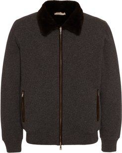 Fur-Lined Cashmere Bomber Jacket