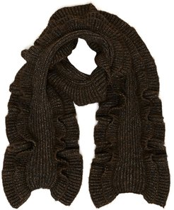 Ruffled Cable Knit Scarf