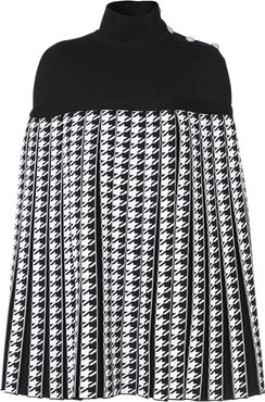 Pleated Houndstooth Cady Turtleneck Poncho