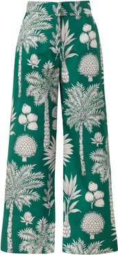 M'O Exclusive Cotton Embroidered Wide Leg Pants