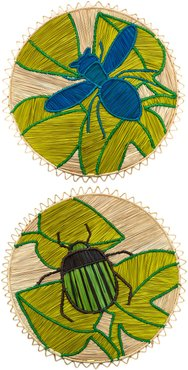 Set-Of-Two Raffia and Bronze Placemats