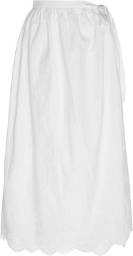 Delilah Scalloped Cotton-Poplin Wrap Skirt