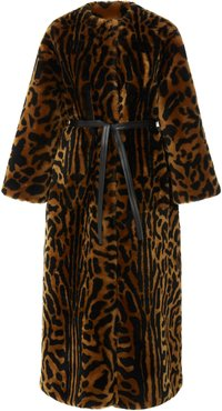 Belted Printed Shearling Coat