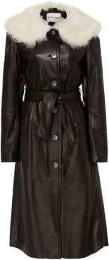 Boose Belted Shearling-Trimmed Leather Coat
