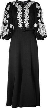 Belted Lace-Embroidered Crepe Midi Dress