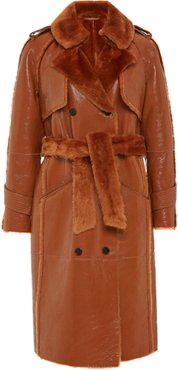 The One Shearling-Trimmed Patent Effect Trench Coat