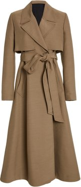 Belted Wool-Blend Ottoman Trench