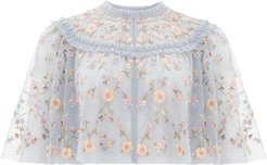 Sweet Petal Embroidered Tulle Cape