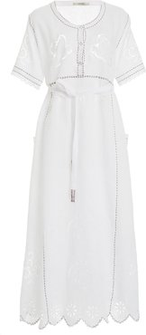 Love In The Air Broderie Anglaise Linen Midi Dress