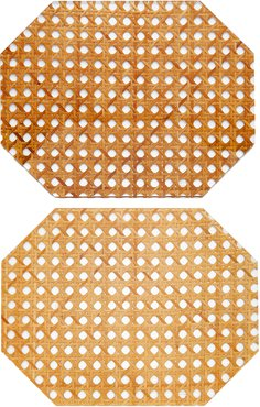 Set-Of-Two Rattan Hexagon Placemats