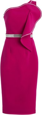 Exclusive Bonita Rhinestone-Trimmed Crepe Midi Dress