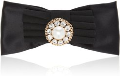 Oversized Gold-Tone, Satin And Multi-Stone Hair Clip