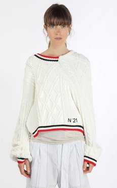 N°21 Deconstructed Stripe-Trimmed Cable-Knit Sweater