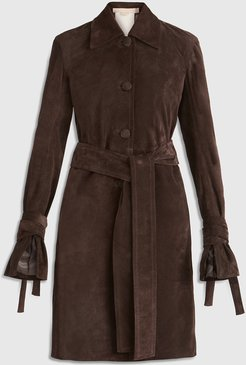 Brock Collection Selvaggia Belted Suede Coat