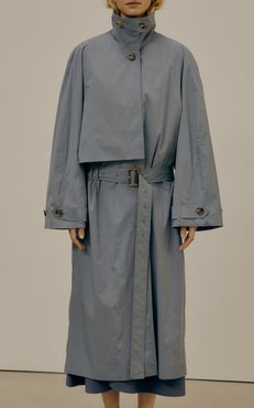 Low Classic Shirred Cotton-Blend Trench Coat