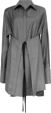 Peter Do Apron Oversized Belted Wool Shirt