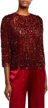 Sequin-Fringed Lace Top