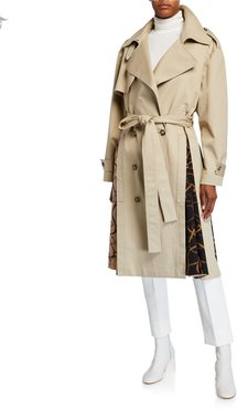 Cotton Trench Coat with Scarf-Insets